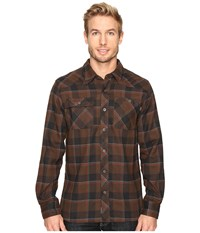 Outdoor Research Feedback Flannel Shirt Earth Black Men's Long Sleeve Button Up Mahogany