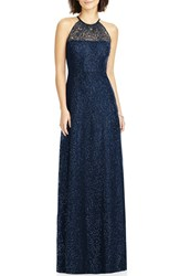 Dessy Collection Women's Sequin Lace Halter Gown Midnight