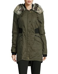 French Connection Faux Fur Trimmed Bomber Parka Turtle Green