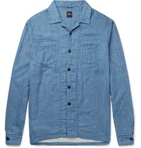 Albam Island Camp Collar Checked Cotton Shirt Blue