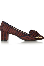 Tory Burch Penny Polka Dot Matte Satin Pumps Brown