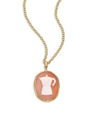 Ippolita Shell Cameo Clear Quartz And 18K Yellow Gold Oval Espresso Maker Charm Gold Peach