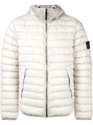 Stone Island Hooded Padded Jacket Nude And Neutrals
