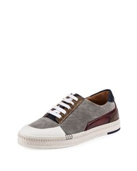 Berluti Playtime Embossed Suede Low Top Sneaker Gray Size 9D