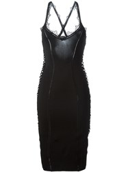 Christian Dior Vintage Lace Trim Bodycon Dress Black
