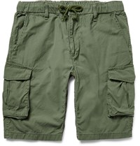 Beams Slim Fit Washed Cotton Cargo Shorts Green