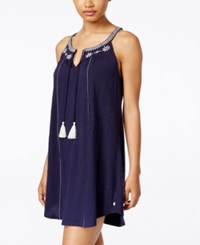 Lucky Brand Embroidered Nightgown Navy