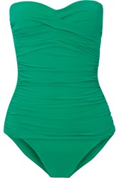 Heidi Klein Key West Ruched Bandeau Swimsuit Jade