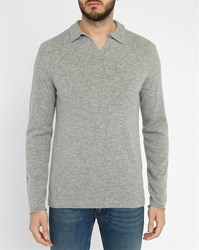 Hartford Light Grey Cashmere Wool Polo Neck Sweater