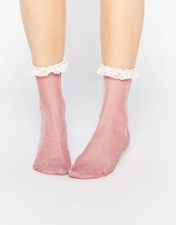 Asos Lace Trim Ankle Socks Pink
