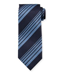 Tom Ford Woven Printed Stripe Tie Navy