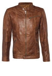 Freaky Nation Jeremmy Leather Jacket Tabacco Brown