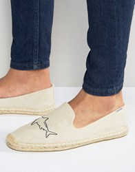 Soludos Embroidery Sharks Sand Espadrilles Cream