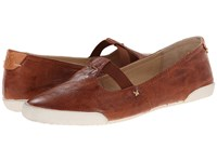 Frye Melanie T Strap Cognac Antique Soft Vintage Women's Flat Shoes Tan