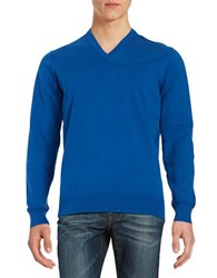 Ben Sherman Cotton V Neck Sweater Royal Blue