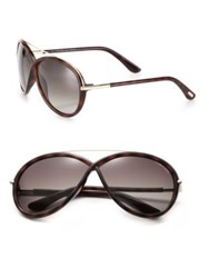 Tom Ford Injected 64Mm Oversized Oval Sunglasses Dark Havana