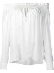 Alexandre Vauthier Off Shoulder Ruffled Blouse White