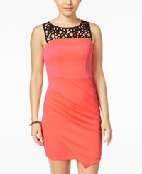 Sequin Hearts Juniors' Laser Cutout Asymmetrical Bodycon Dress Coral