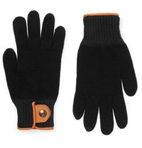 Oliver Spencer Cross Country Leather Tried Wool Blend Gloves Black