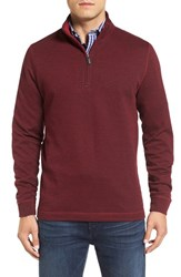 Bugatchi Men's Stripe Mock Neck Quarter Zip Pullover Sweater Wine