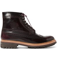 Grenson Sebastian Polished Leather Brogue Boots Burgundy
