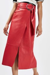 Topshop Leather Belted Pencil Skirt By Boutique Red