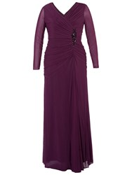 Chesca Ruched Bodice Jewel Dress Aubergine
