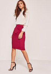 Missguided Ribbed Detail Midi Skirt Pink