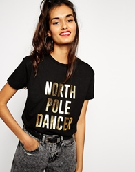Asos T Shirt With Christmas North Pole Dancer Foil Print Black