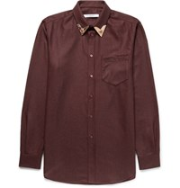 Givenchy Cuban Fit Metal Tipped Cotton Flannel Western Shirt Burgundy