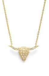 Sugar Bean Jewelry Pave Steer Pendant Necklace Gold