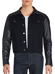 The Kooples Button Front Leather Blend Jacket Black