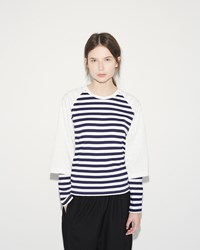 Comme Des Garcons Double Sleeve Tee Navy