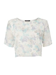 Therapy Floral Mesh Shell Top Blue