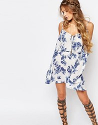 Honey Punch Boho Dress With Strappy Cold Shoulder In Floral Print White