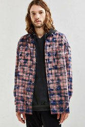 Urban Outfitters Uo Bleached Out Drop Shoulder Flannel Button Down Shirt Blue