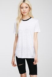 Forever 21 Slub Knit Tee White Black