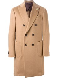 Lardini Double Breasted Coat Nude And Neutrals