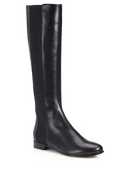 Jimmy Choo Faith Knee High Leather And Stretch Boots Black