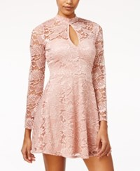 Material Girl Juniors' Lace Mock Neck Skater Dress Only At Macy's Misty Rose