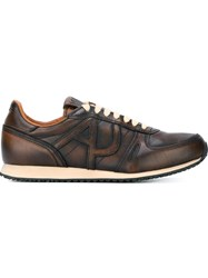 Armani Jeans Embossed Logo Sneakers Brown