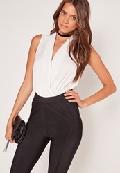 Missguided Plunge Wrap Over Bodysuit White White