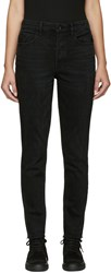 Helmut Lang Black Fray Crop Jeans