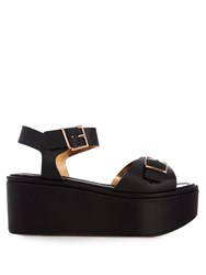 Robert Clergerie Feitv Leather Platform Sandals Black