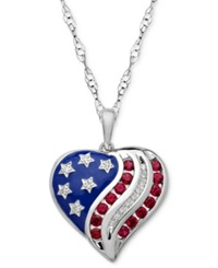 Macy's Ruby 3 4 Ct. T.W. And Diamond Accent Flag Heart Pendant Necklace In Sterling Silver