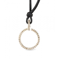 Roberto Marroni Polished Silver Circle Pendant Necklace With Brown Diamonds Silver Brown