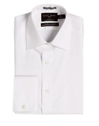 Black Brown Fitted Non Iron French Cuff Dress Shirt White