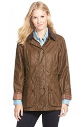 Women's Barbour 'Beadnell' Waxed Cotton Jacket Bark