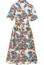 House Of Holland Printed Slub Cotton Midi Dress Cream Blue