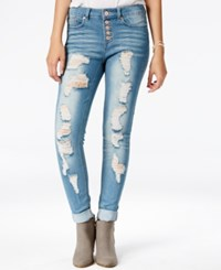 Indigo Rein Juniors' 4 Button Ripped Skinny Ankle Jeans Medium Tint